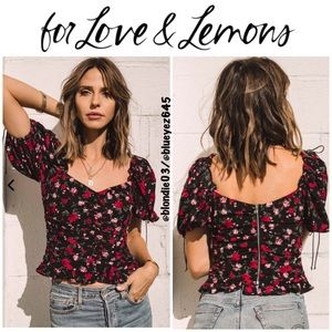 For Love & Lemons Tainted Button Front Top S